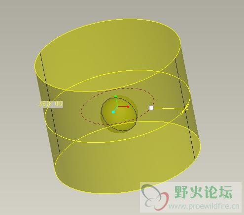 proe画的圆柱体内开个圆球形小孔怎么做图片
