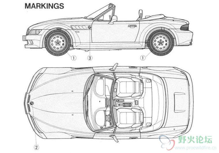 汽车的三视图,想做汽车模型的可以看看